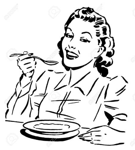 15208494-a-black-and-white-version-of-a-vintage-style-portrait-of-a-woman-eating